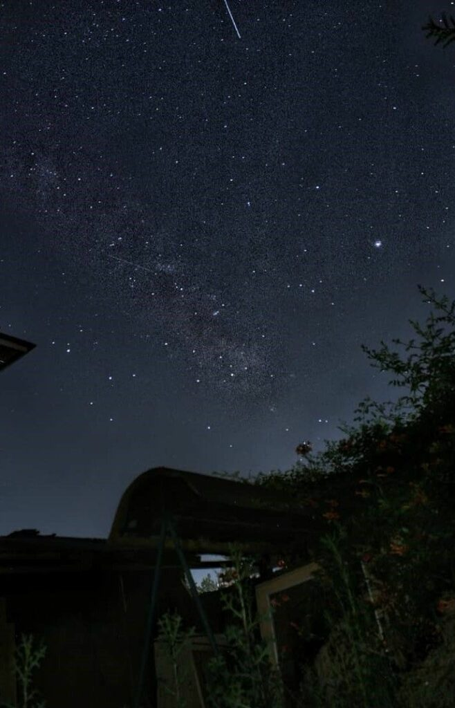 A beautiful night sky with meteor in the valley of Kashmir, Pakistan