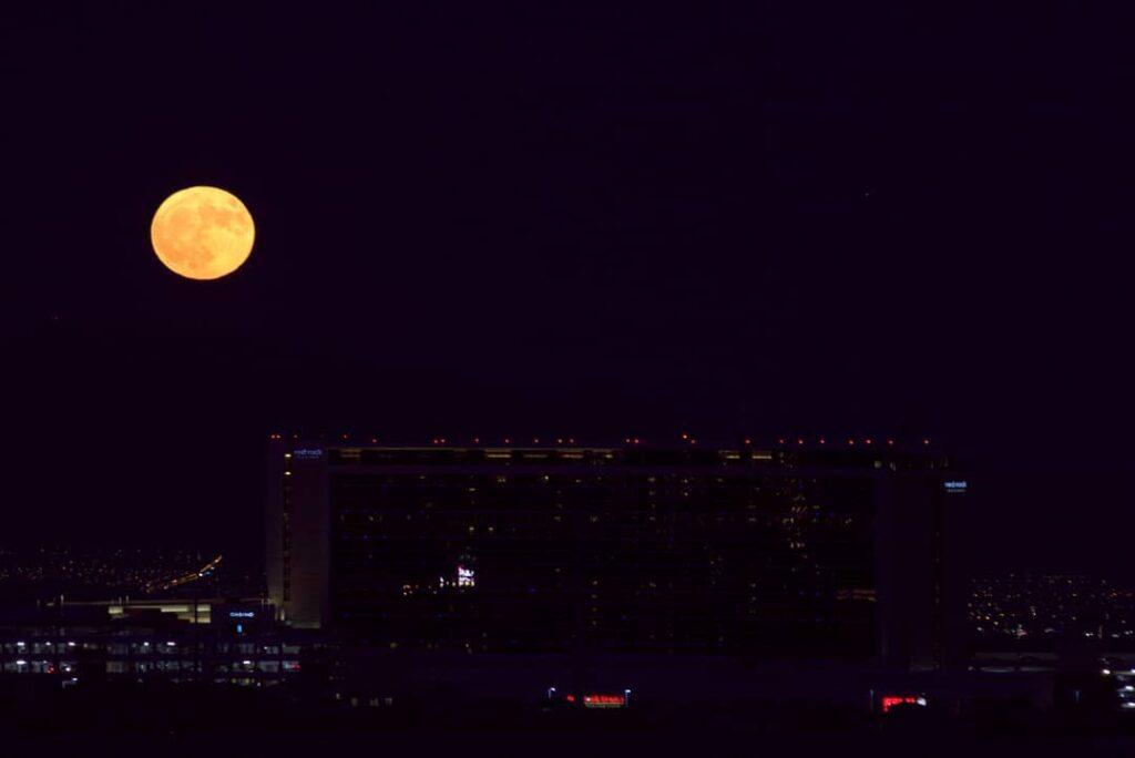Full moon over Red Rock Casino, Las Vegas