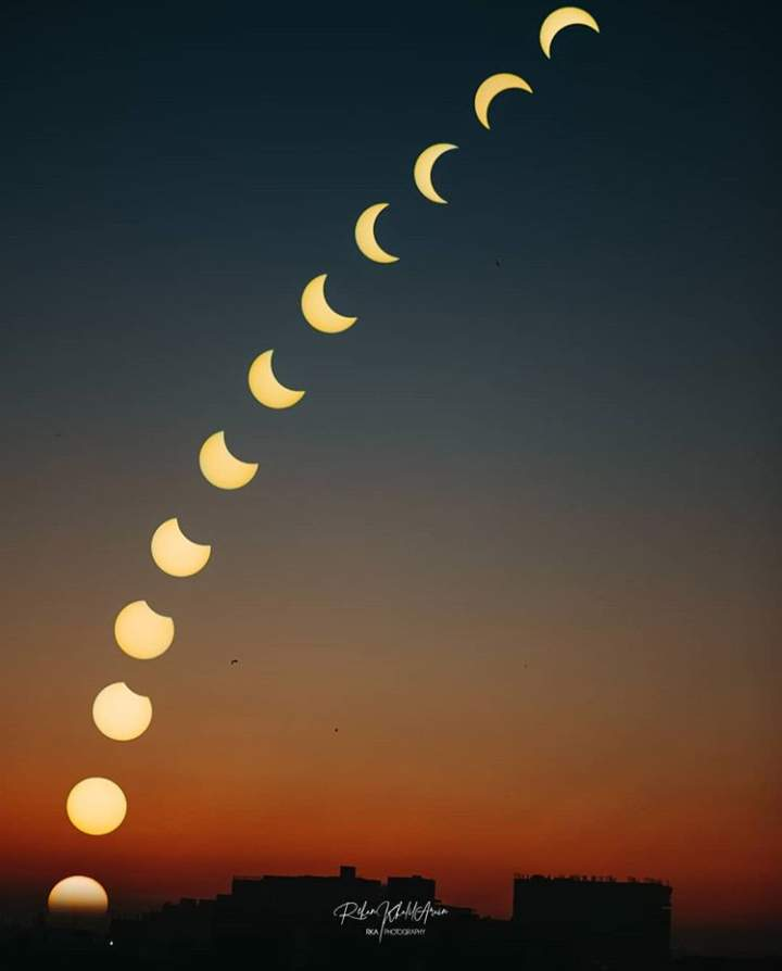 Different phases of Solar eclipse on 26th December 2019