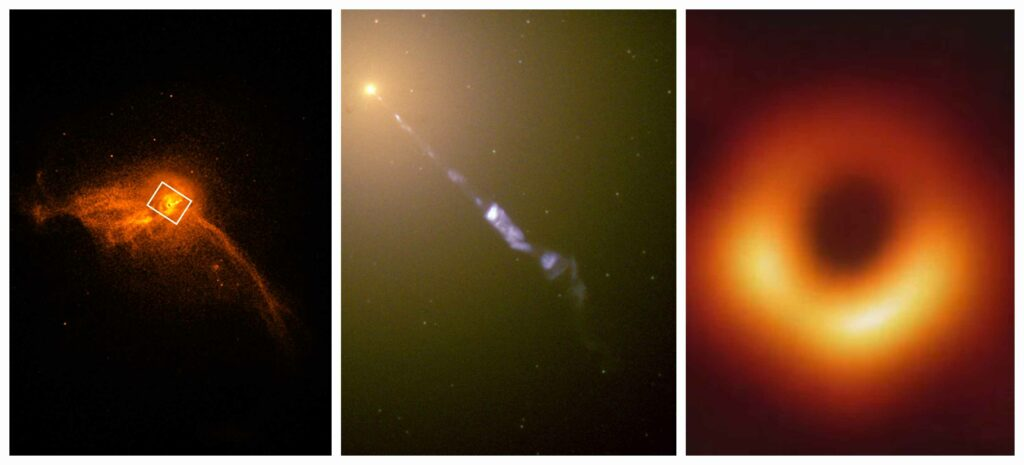 (L) A close-up image of the core of the M87 galaxy. (M) A jet of subatomic particles streaming from the center of M87*. (R) The first image of a black hole. (Credits NASA)