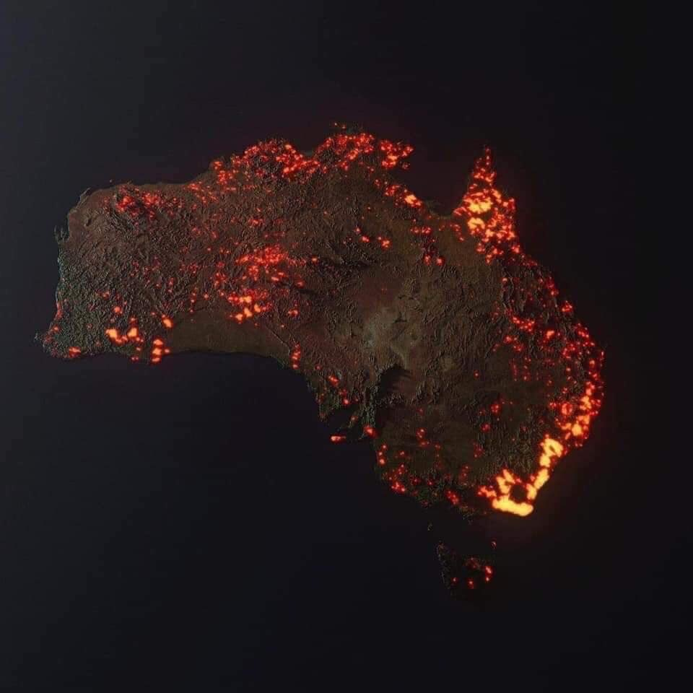 Satellite Image constructed using data from NASA showing the extent of Australia's Bushfire