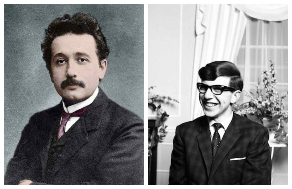 At 16, Einstein had a life-changing moment when he was introduced to a children's science series by Aaron Bernstein, Naturwissenschaftliche Volksbucher which made him more interested in science. Hawking, on the other hand, studied natural sciences at Oxford and after receiving his B.A. in 1962, he went to Cambridge for graduate studies in Physics. At 21, he was diagnosed with ALS.